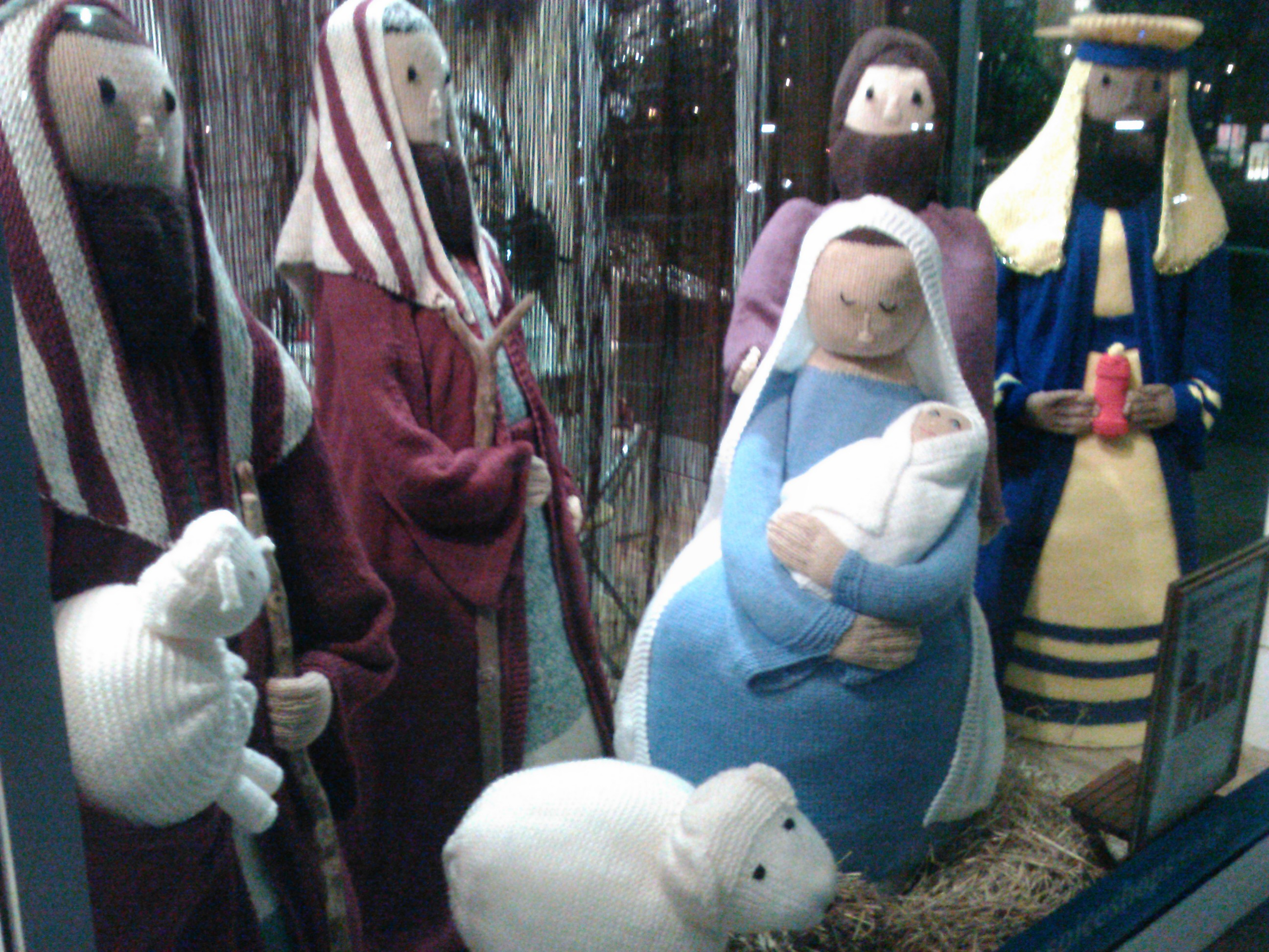 Knitted nativity scene