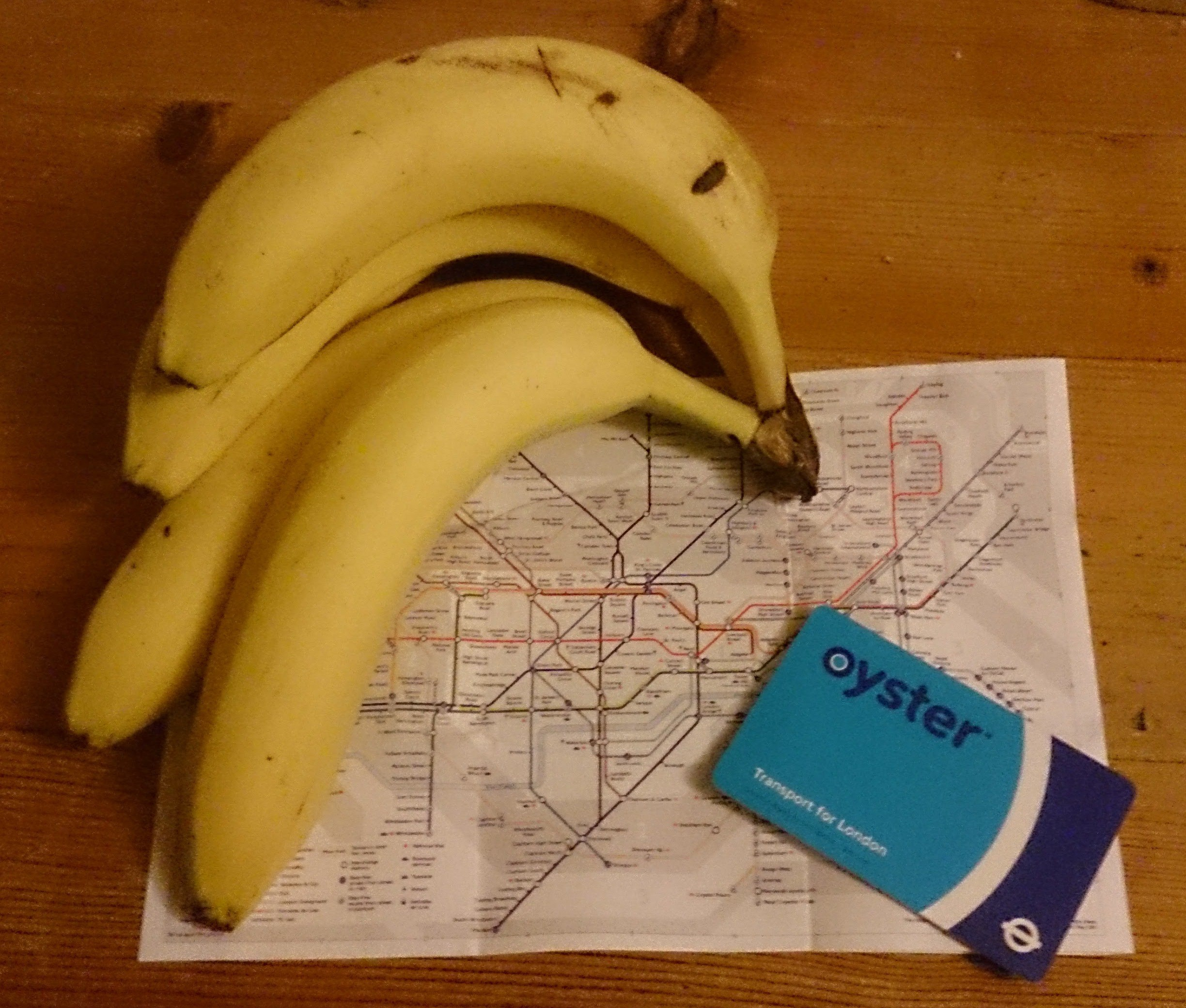 Tube map, Oyster card and bunch of bananas