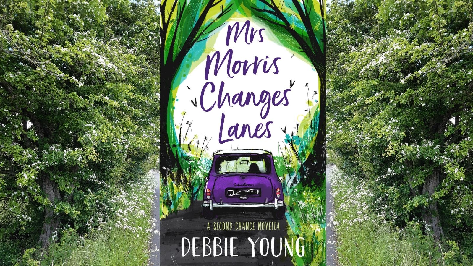 book cover with backdrop of country lane